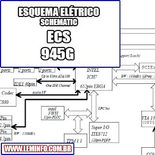 Esquema Elétrico Placa Mãe ECS 945G Motherboard Manual de Serviço  Service Manual schematic Diagram Placa Mãe ECS 945G Motherboard      Esquematico Placa Mãe ECS 945G Motherboard
