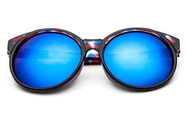 Blue Lense Vintage Style Floral Rim Round Sungasses