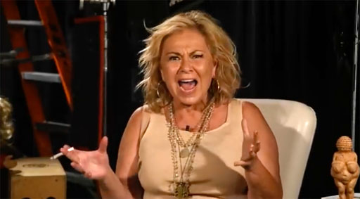 """Roseanne Barr appears to be rather unhinged as she shrieks at a producer about her deleted tweet regarding Valerie Jarrett. """"I thought the bitch was white!"""""""