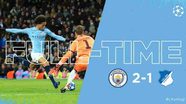 Hasil Manchester City vs Hoffenheim Skor Akhir 2-1