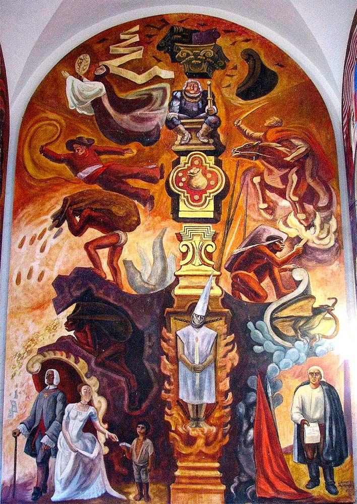 En el mural que puedes ver a la derecha, en la parte superior hay un rey europeo, con la cara hinchada de comer carne custodiando una cesta llena de oro. A su izquierda una monja vuela, representando al poder de la iglesia y a la derecha un jinete cabalga con una espada, símbolizando la opresión y la conquista. Bajo la monja, en el centro a la izquierda, un hombre da latigazos a un indígena que carga un saco de piedras extraidas de una mina y en el centro a la derecha,  el Pípila, un indígena y héroe de la Independencia de México llevando una antorcha carga una losa en su espalda. En el centro abajo hay una persona torturada por la inquisición encadenada por el cuello y los pies que lleva un gorro puntiagudo y agarra una vela. A la derecha abajo se encuentra José María Morelos, héroe de la Independencia mexicana y en a la izquierda abajo una pareja de aristócratas europeos pasea con altanería bajo una lluvia de oro y de dinero mientras dan limosna a un pobre niño indígena mexicano. Aunque pensemos que las cosas cambian, muy poco ha cambiado la historia para muchos de los personajes de este mural.