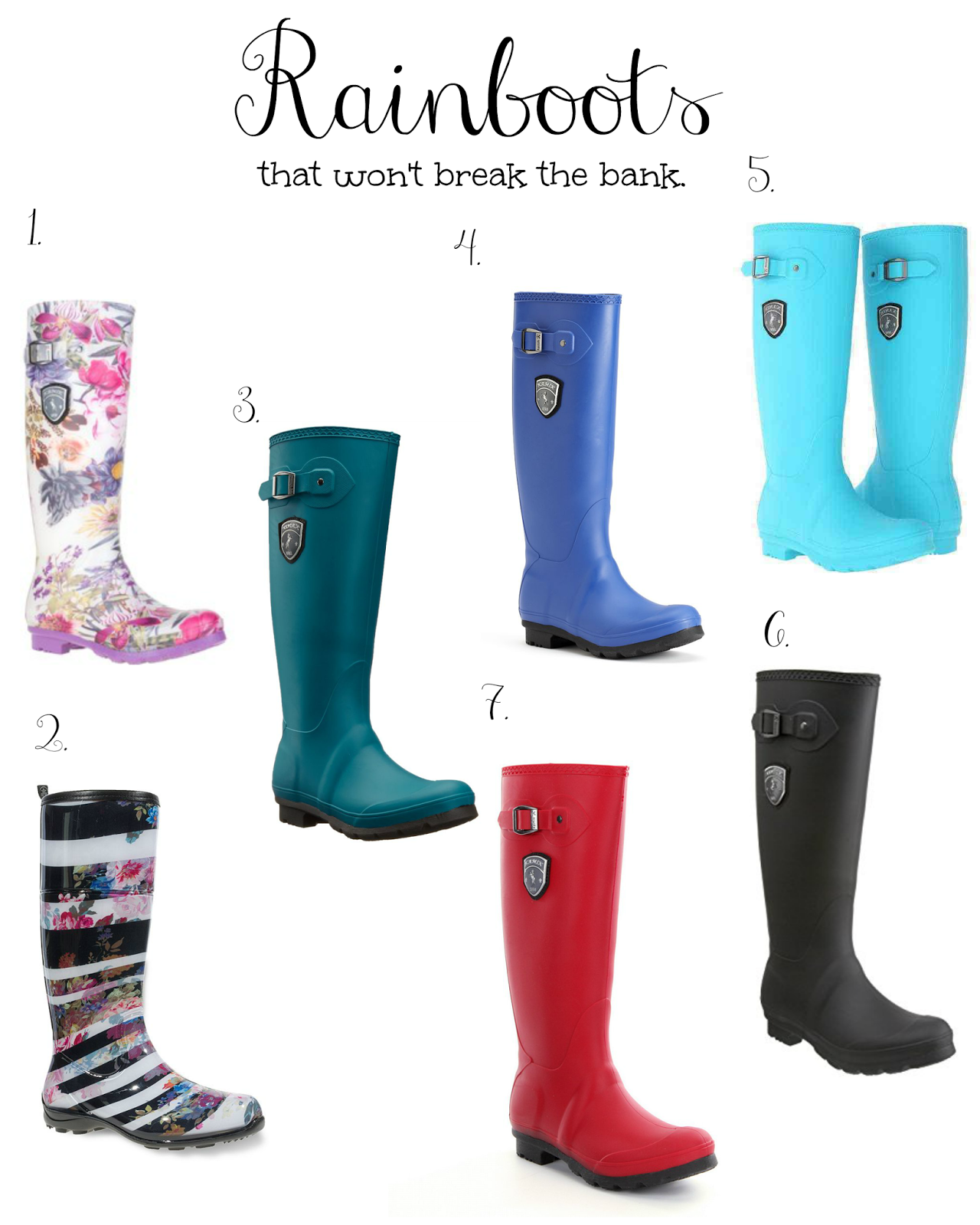 inexpensive cute rainboots