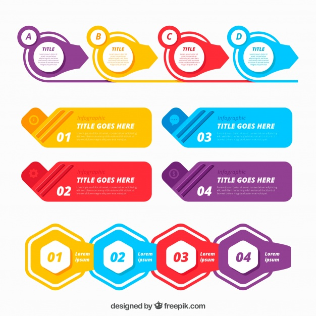 colorful infographic elements collection in flat style free vector