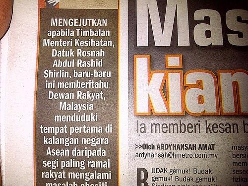 rakyat malaysia tergemuk di asia tenggara