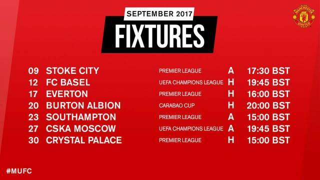 Jadwal Pertandingan Manchester United September 2017