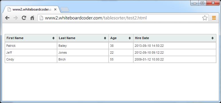 WhiteBoard Coder: jQuery tablesorter