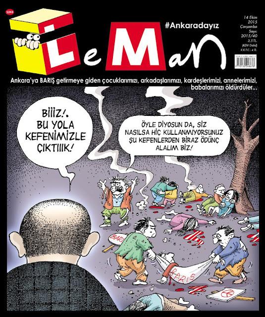 10 Ekim 2015 Ankara Saldırısı - Leman Dergisi Kapak Karikatürü