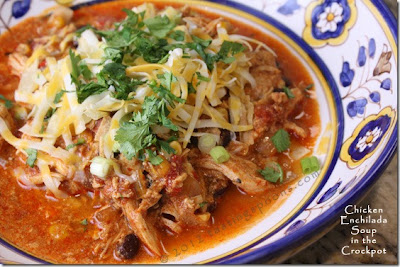 Crockpot Chicken Enchilada Soup, guaranteed to rock your world!  (From Tasting Spoons via SlowCookerFromScratch.com)