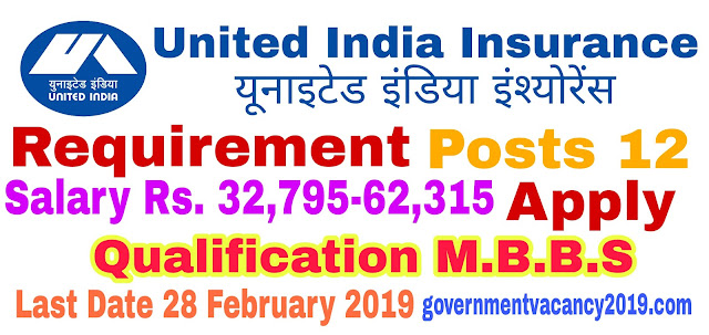 United India Insurance Recruitment 2019 for Administrative Officer  12 Posts  Last Date 28 February 2019  Government Vacancy 2019 governmentvacancy2019.com