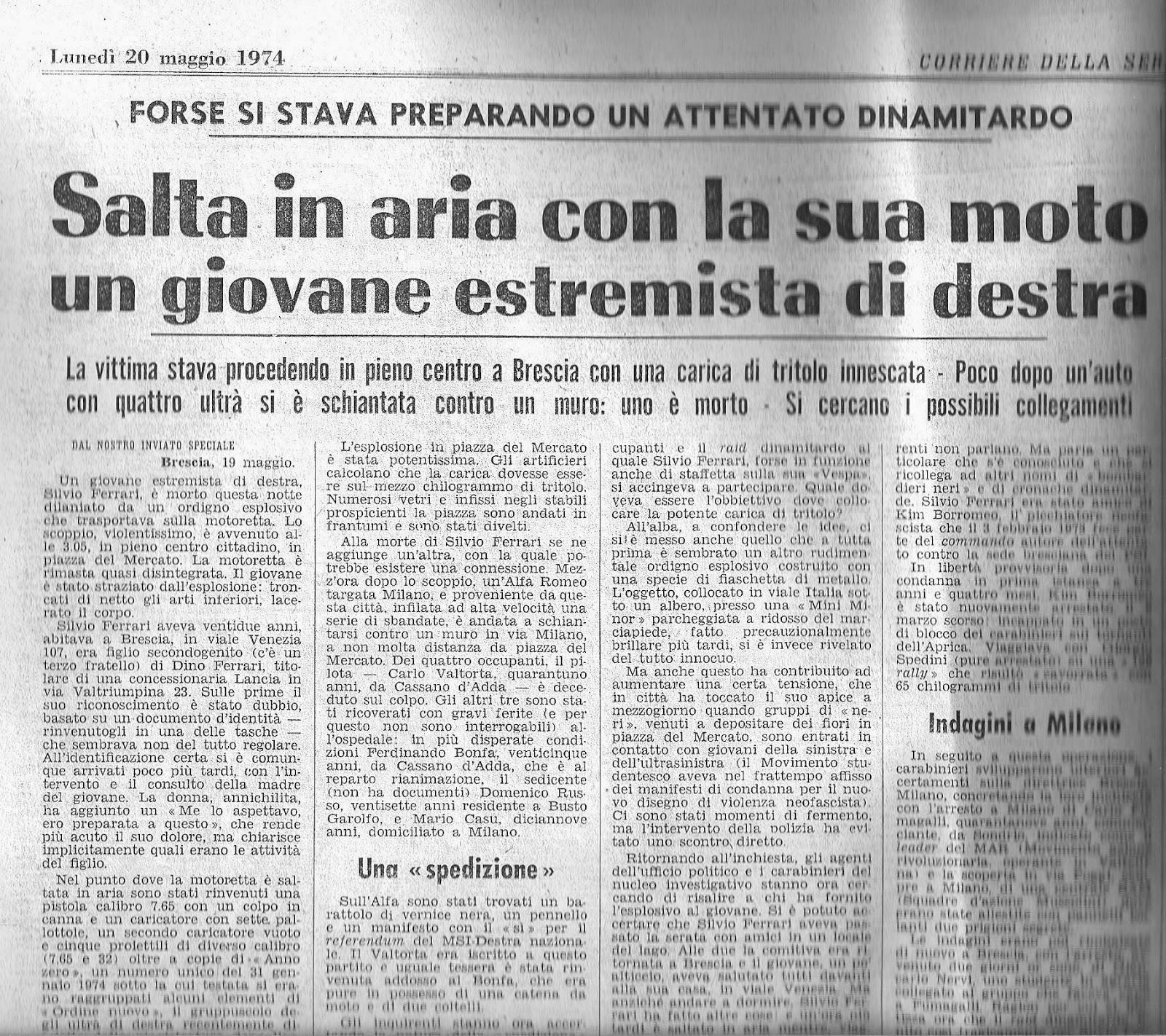 Avanguardia nazionale bergamo silvio ferrari presente for Necrologio corriere della sera