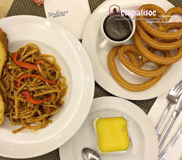Dulcinea Churros con Chocolate Leche Flan Chorizo Pasta