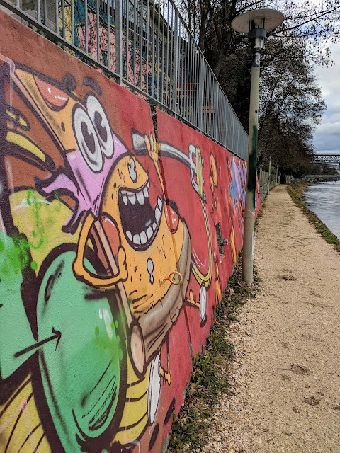 Things to do in Zurich in Winter: Street art on the Limmat River
