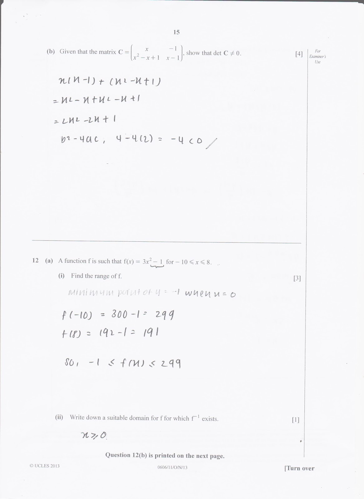 IGCSE Add Maths Working Answers [0606/11] Paper 1 2013