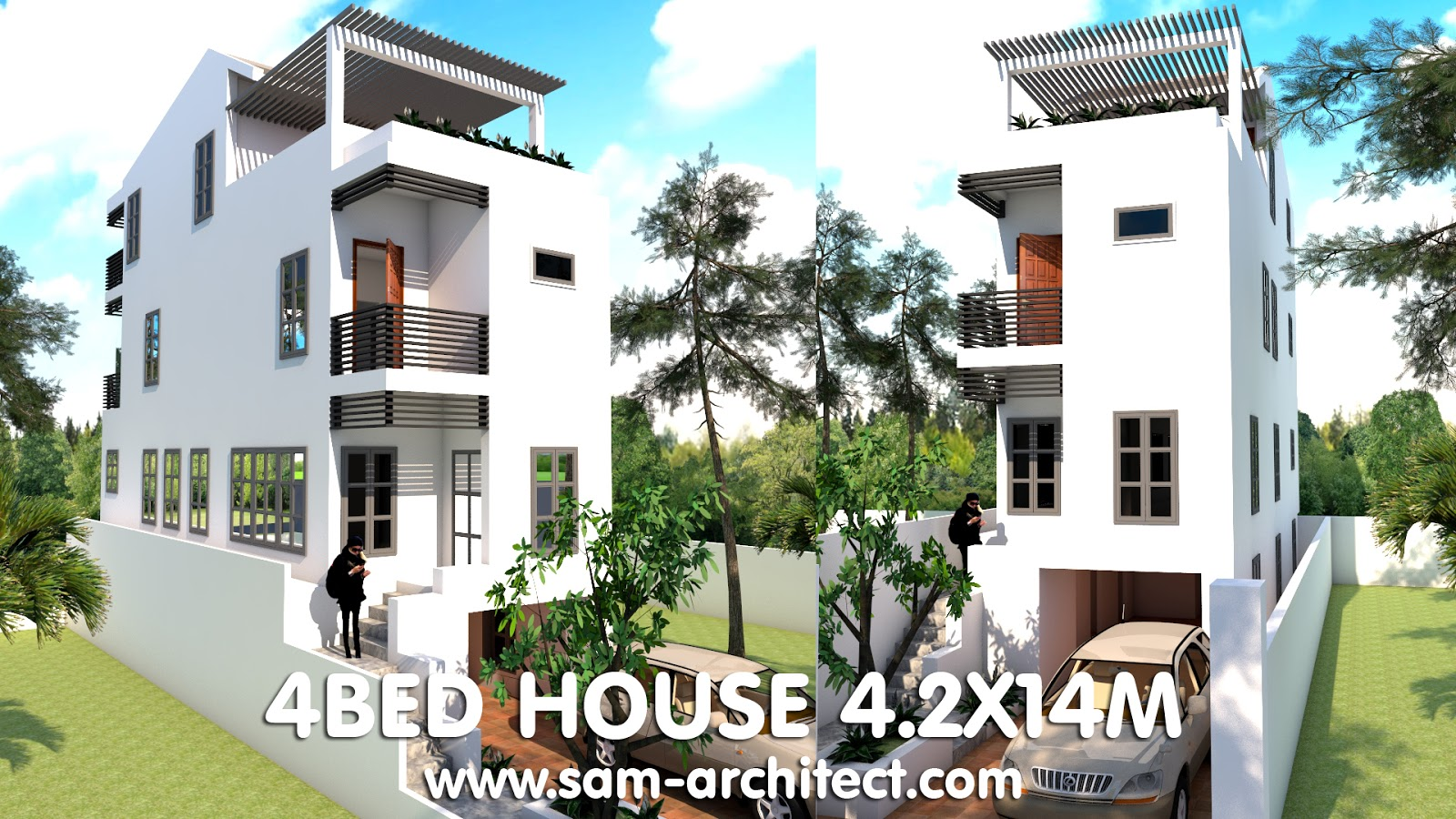 4 stories narrow house with 4 bedrooms plan for 55 wide house plans