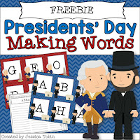FREE Presidents Day Activity Making Words- February Activities and FREEBIES- activities for primary students- February reading, math, writing, social studies and more! Valentine's Day, Presidents Day, Black History Month, Dental Health Month