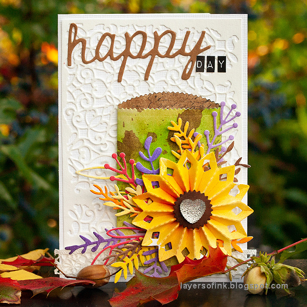Layers of ink - Autumn Card with Gift Card Pocket tutorial by Anna-Karin Evaldsson with Sizzix dies by Tim Holtz.