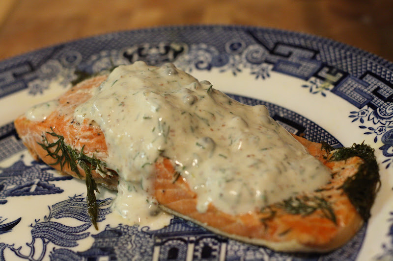 Oven Poached Salmon With Lemon Dill Caper Sauce