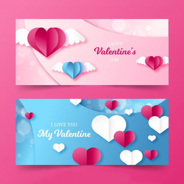 Flat valentine's day banners Free Vector