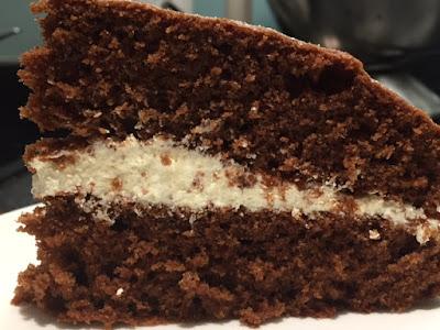 Slice of Chocolate Sandwich Cake on a plate