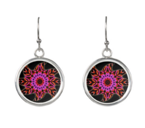 Pink and black star pattern silver earrings