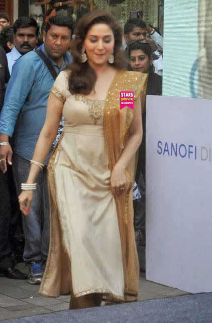 Madhuri Dixit Sizzling In Brown Salwar  Cute Marathi -7770