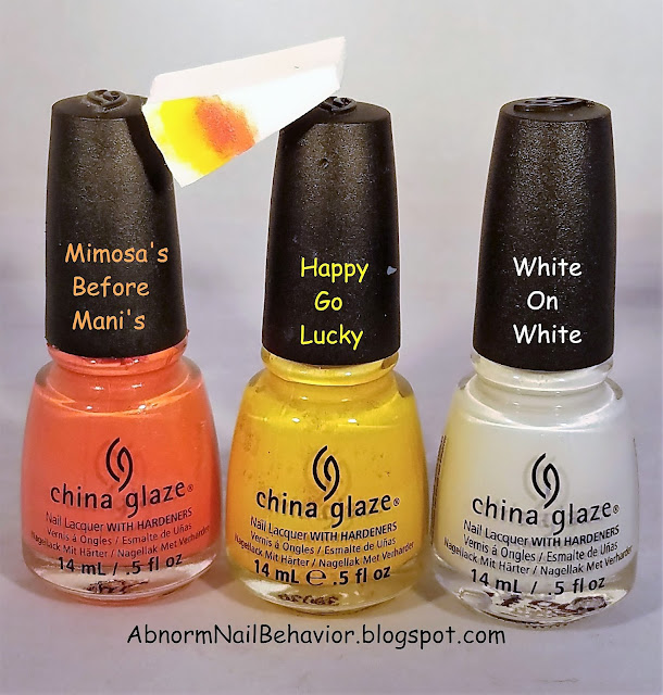 Mimosa's before Mani's Happy go Luck White on White Polish