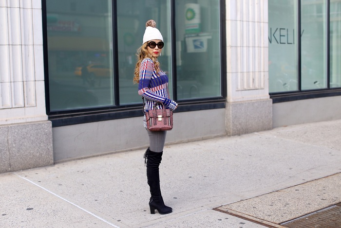 Shall We Sasa Topshop Stripe long sleeve tunic, Steve madden gorgeous otk boots, 31phillip lim mini pashli, prada sunglasses, j crew pom pom beanie, blank denim grey skinny jeans, fashion blog, winter outfit, kendra scott earrings