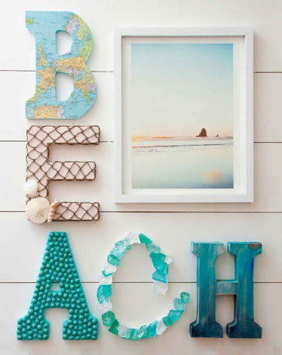 Decorated Letters with a Coastal Beach Theme