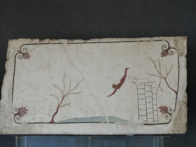 Fresco van duiker op binnenkant deksel van tombe geschilderd