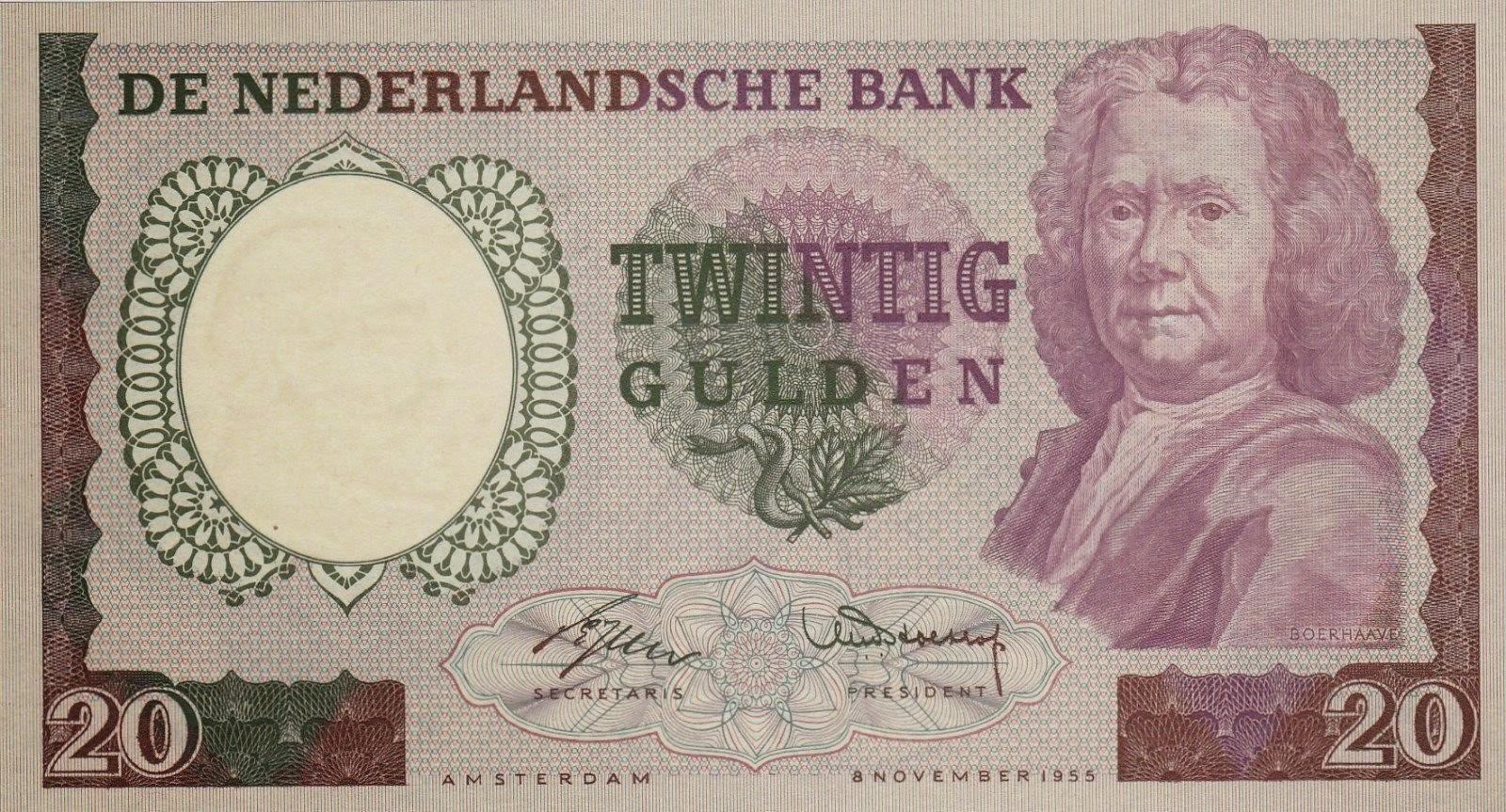 netherlands 20 gulden banknote 1955 herman boerhaave