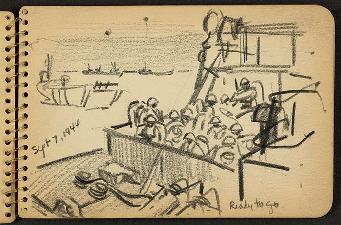 21-Year-Old WWII Soldier's Sketchbooks Show War Through The Eyes Of An Architect - Ready To Go. Soldiers Aboard Landing Craft In Cherbourg Harbor, France