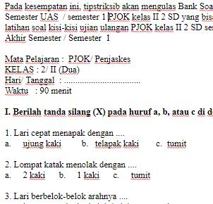 Soal-Ujian-Ulangan-UAS-PJOK-kelas-II-2-SD-semester-1