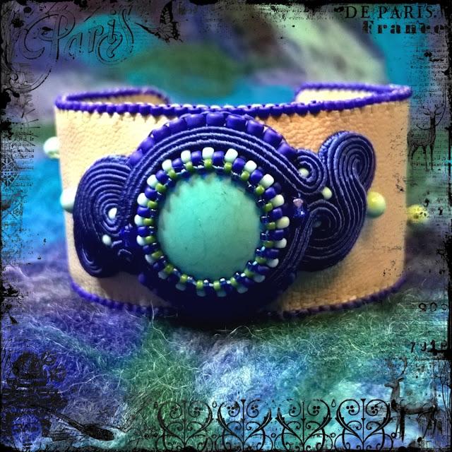 turquoise soutache cuff bracelet