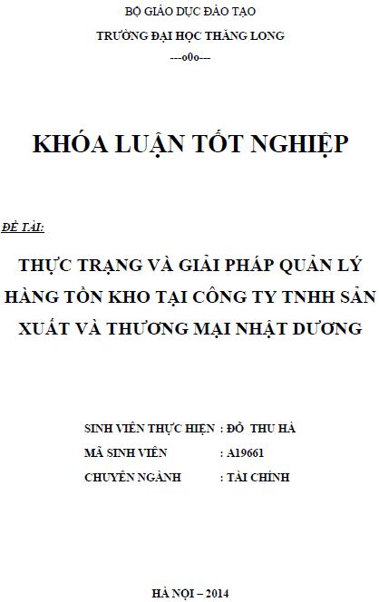 Thực trạng và giải pháp quản lý hàng tồn kho tại Công ty TNHH Sản xuất và Thương mại Nhật Dương