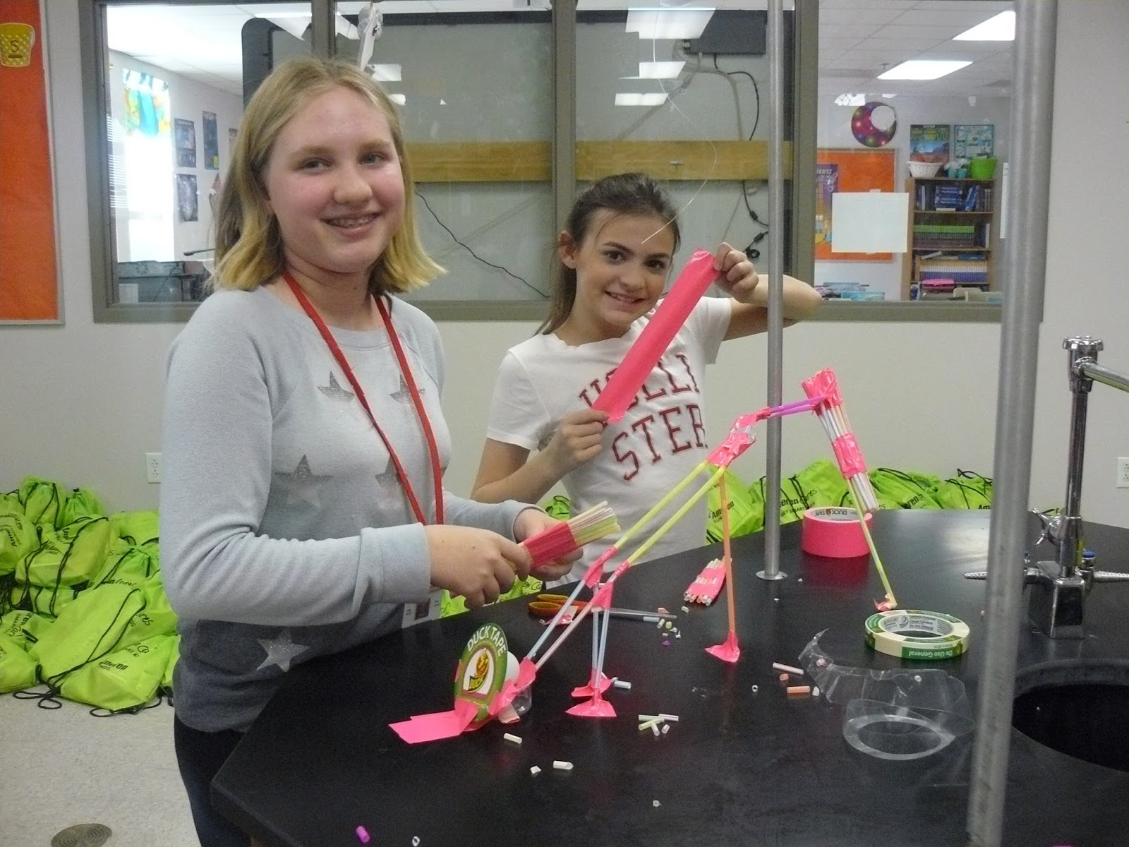 Wsmiddle Information Center Science Club Stem Straw Roller Coaster Challeng