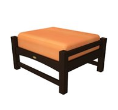 Trex Outdoor Furniture Rockport Club Vintage Lantern Ottoman with Tangerine Sunbrella Cushion