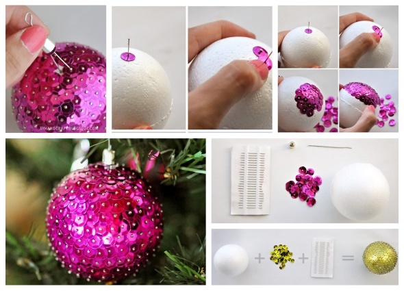 Navidad, bolas lentejuelas, ornamentos, manualidades