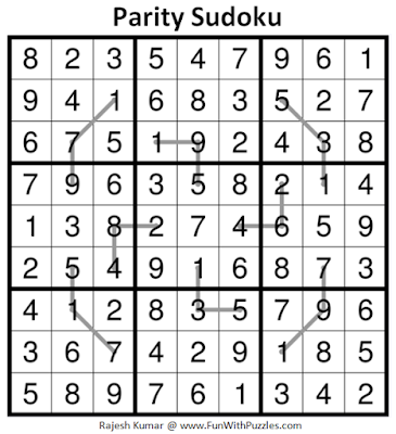 Parity Sudoku (Fun With Sudoku #248) Puzzle Answer