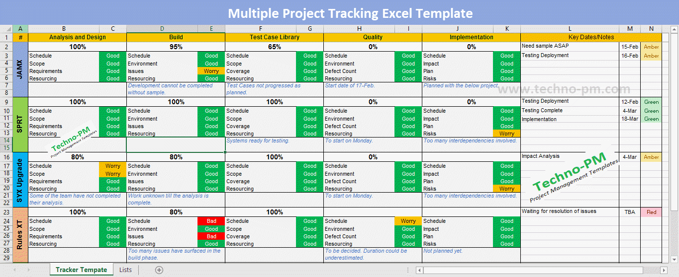 Multiple Project Tracking Excel
