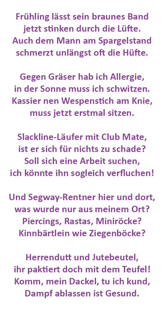 Lettersplatter Gedicht Der Woche Der Fruhlingsrentner