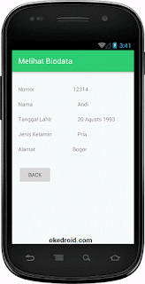 Hasil Tampilan Melihat Sqlite CRUD Android