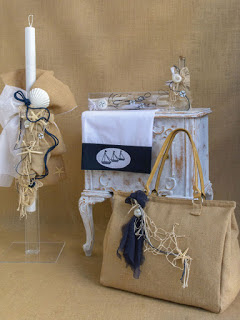 greek beach themed baptism candle set