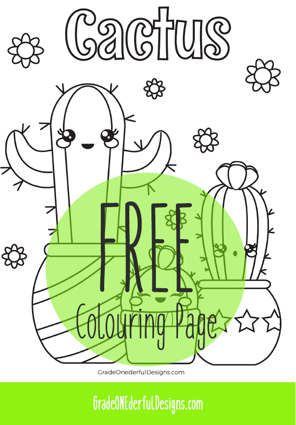 Free and CUTE Cactus Coloring Page for Kids