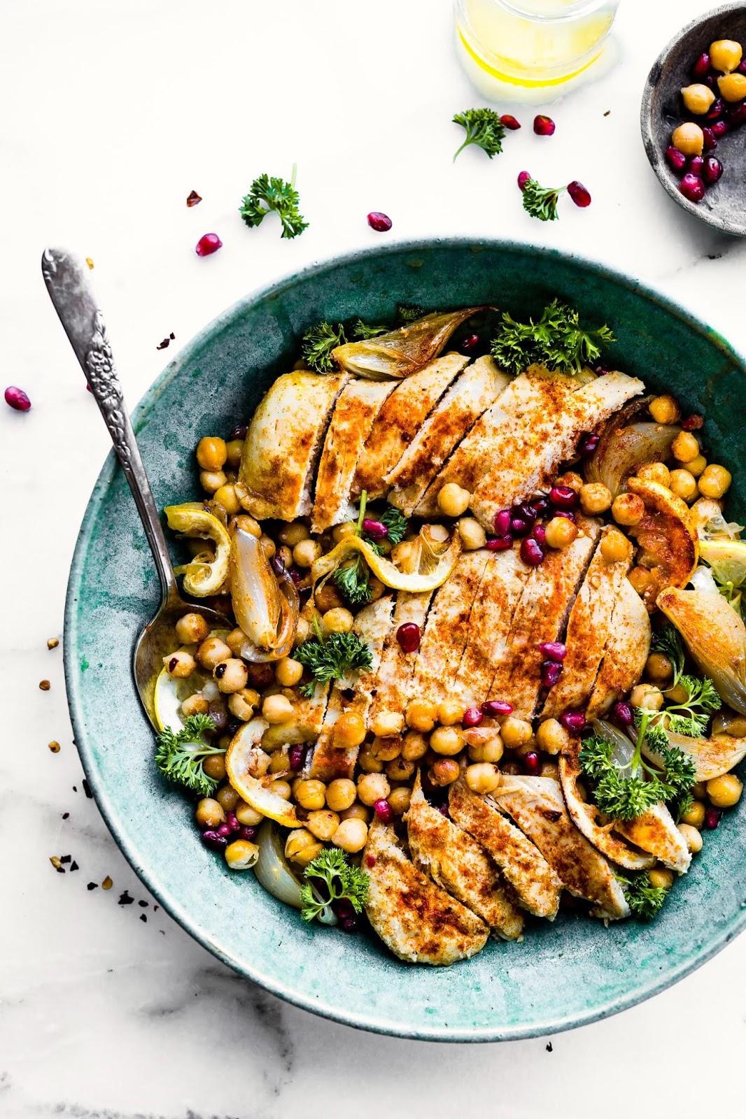 Cumin Roaste chickpea chicken bowls- grain free healthy swaps!
