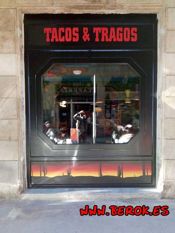 Rotulación a mano de restaurante mexicano