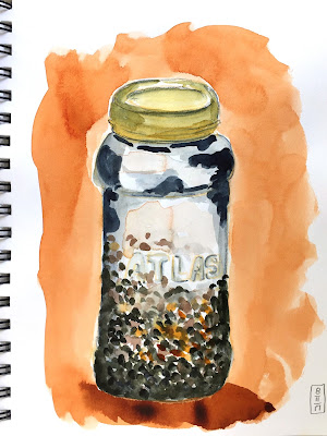Daily Painting in gouache of a jar of French green lentils with orange background - a complementary color scheme study - by Amy Lamp