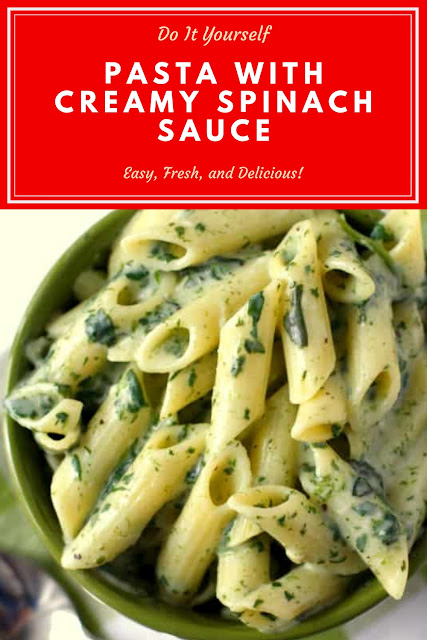 Pasta with Creamy Spinach Sauce   #PastaReceipes  #SpinachSauceReceipes  #CreamySpinachReceipes