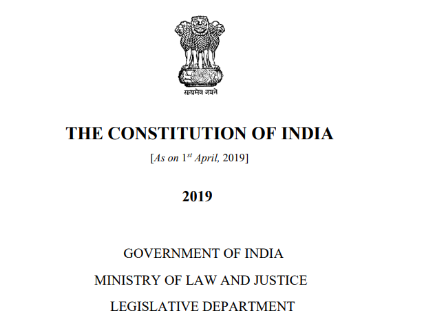 Constitution of India ([As on 1 st April, 2019])- in English