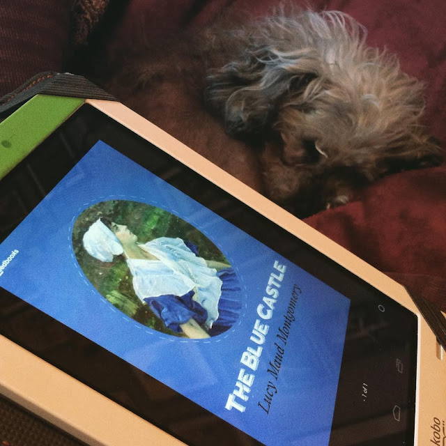 Murchie curls up behind a white Kobo with the cover of The Blue Castle on it. The blue cover features a roundel of a stern-faced white woman wearing a white bonnet and a blue dress with a white fichu.