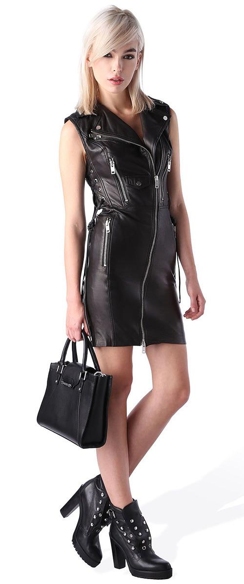 Robe courte noire en cuir Diesel